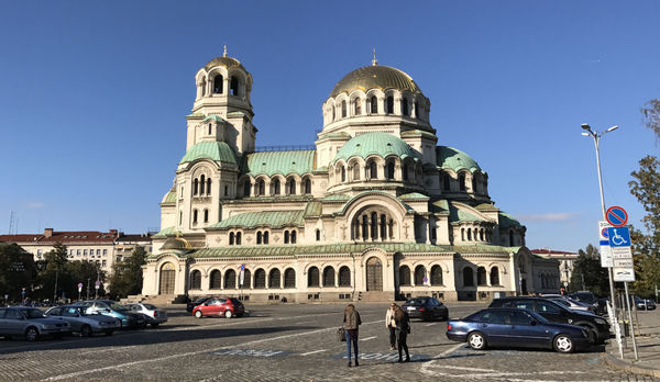 Golden dome cathedral. Namesake Alexander Nevsky probably must have been a popular guy.