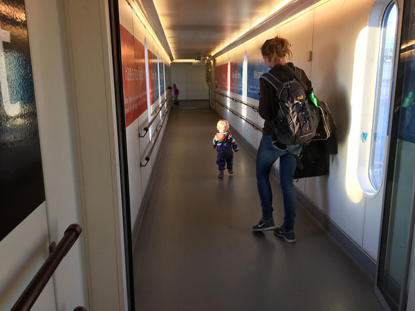 The kids' favorite part of flying: running down the jetway into the plane