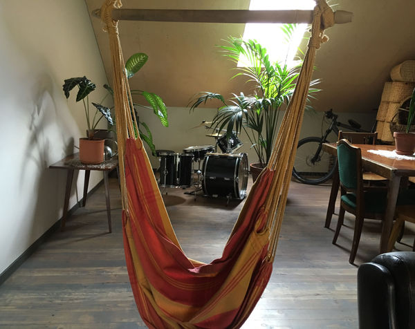 Universally understood: drums rock and hammocks are awesome